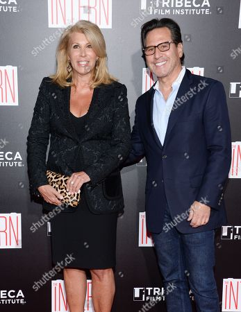 """Dottie Herman and Dr. Howard Sobel attend the premiere of """"The Intern"""" at the Ziegfeld Theatre, in New York"""