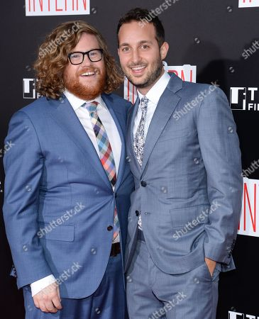 """Actors Zack Pearlman, left, and Jason Orley attend the premiere of """"The Intern"""" at the Ziegfeld Theatre, in New York"""