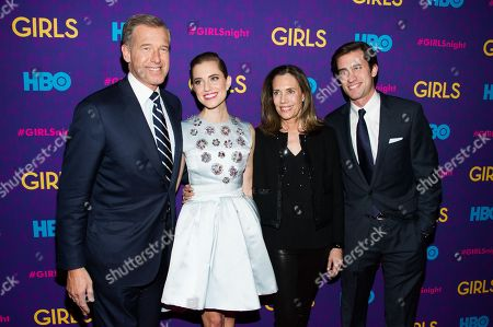 "Brian Williams, from left, Allison Williams, Jane Stoddard Williams and Douglas Williams attend the after party following the premiere of HBO's ""Girls"" third season on in New York"