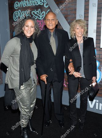 "Actor Harry Belafonte poses with his wife Pamela Frank, right, and daughter Gina Belafonte, at the premiere of HBO's new drama series ""Vinyl"", at the Ziegfeld Theatre, in New York"