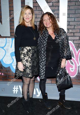 "Actresses Edie Falco, left, and Aida Turturro attend the premiere of HBO's new drama series ""Vinyl"", at the Ziegfeld Theatre, in New York"