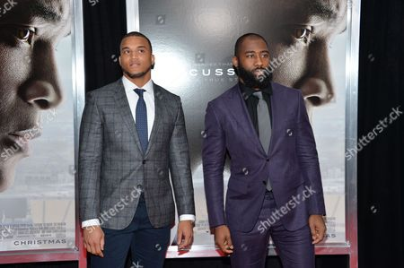"Stock Picture of NFL Football players Dee Milliner, left, and Darrelle Revis attend a special screening of ""Concussion"" at the AMC Loews Lincoln Square, in New York"