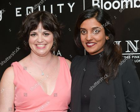"""Writer Amy Fox, left, and director Meera Menon attend a special screening of """"Equity"""", hosted by The Cinema Society and Bloomberg, at the Museum of Modern Art, in New York"""