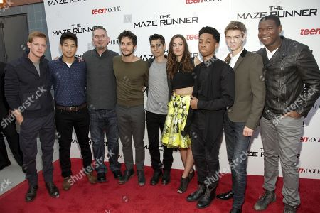 "Chris Sheffield, from left, Ki Hong Lee, James Dashner, Dylan O'Brien, Alexander Flores, Kaya Scodelario, Jacob Latimore, Thomas Brodie-Sangster and Dexter Darden attend a screening of ""The Maze Runner"" hosted by Twentieth Century Fox and Teen Vogue on in New York"