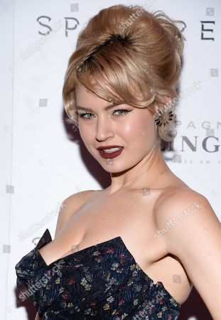 """Stock Image of Model Gia Genevieve attends a pre-release special screening of """"Spectre"""", hosted by Champagne Bollinger with The Cinema Society, at the IFC Center, in New York"""
