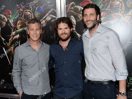 """Producer Brad Fuller, left, director Jonathan Liebesman and producer Andrew Form, right, attend a special screening of """"Teenage Mutant Ninja Turtles"""" at the AMC Lincoln Square, in New York"""