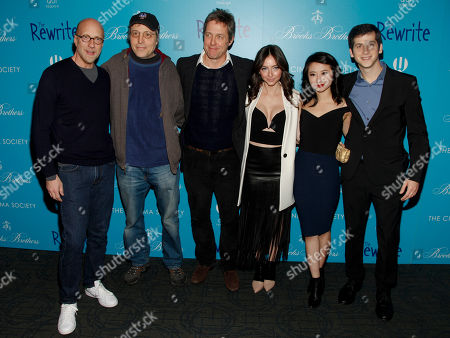 "Chris Elliott, from left, Marc Lawrence, Hugh Grant, Emily Morden, Annie Q and Steven Kaplan attend a screening of ""The Rewrite"" at Landmark Sunshine Cinema, in New York"