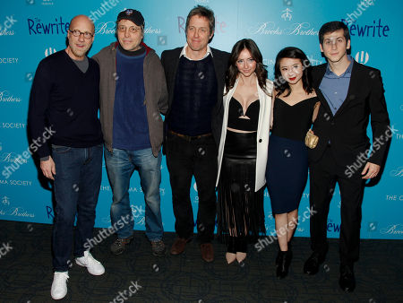Stock Picture of Chris Elliott, from left, Marc Lawrence, Hugh Grant, Emily Morden, Annie Q and Steven Kaplan attend a screening of 'The Rewrite' at Landmark Sunshine Cinema, in New York