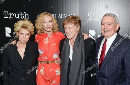 """Author Mary Mapes, from left, actress Cate Blanchett, actor Robert Redford and television journalist Dan Rather attend a special screening of """"Truth"""" at The Museum of Modern Art, in New York"""
