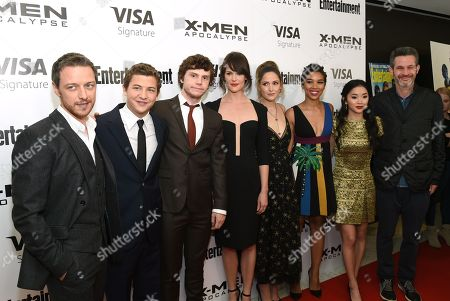 """Stock Picture of James McAvoy, from left, Tye Sheridan, Evan Peters, Carolina Bartczak, Rose Byrne, Alexandra Shipp, Lana Condor and writer/producer Simon Kinberg attend a special screening of """"X-Men: Apocalypse"""" at Time Inc., in New York"""