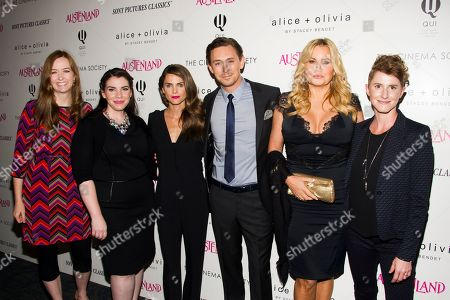 "Shannon Hale, from left, Stephenie Meyer, Keri Russell, JJ Feild, Jennifer Coolidge and Jerusha Hess attend a screening of Sony PIctures Classics' ""Austenland"" hosted by the Cinema Society with Alice and Olivia on in New York"