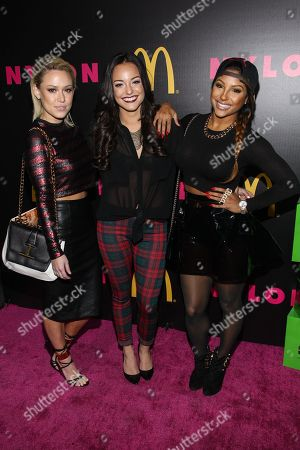 Girls United (Nichole Cordova, Candice Craig, Alex Segal) arrive at the NYLON December/January Cover Launch Party Sponsored by McDonald's at Quixote Studios on in West Hollywood, CA