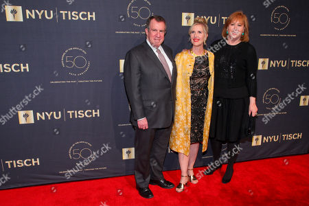 Andrew Tisch, from left, Allyson Green and Ann Tisch attend the NYU Tisch School of the Arts 50th Anniversary Gala at Jazz at Lincoln Center's Frederick P. Rose Hall, in New York