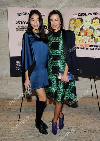 Chinese fashion model Luo Zilin, left, and businesswoman Wendi Deng Murdoch attend The New York Observer's 25th anniversary party at The Four Seasons Restaurant on in New York