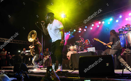 Black Thought, Questlove, Kamal Gray, Frank Walker, Captain Kirk Douglas, Tuba Gooding and Mark Kelley with The Roots perform during ONE Musicfest 2015 at Aaron's Amphitheatre at Lakewood, in Atlanta