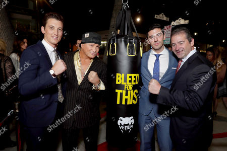 """Miles Teller, Vinny Paz, Executive Producer Joshua Sason and Producer Chad A. Verdi seen at Open Road Films Los Angeles Premiere of """"Bleed for This"""" at Samuel Goldwyn Theater, in Beverly, Hills, Calif"""