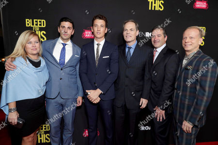 """Stock Image of Executive Producer Michelle Verdi, Executive Producer Joshua Sason, Miles Teller, Tom Ortenberg, Chief Executive Officer of Open Road Films, Producer Chad A. Verdi and Producer Bruce Cohen seen at Open Road Films Los Angeles Premiere of """"Bleed for This"""" at Samuel Goldwyn Theater, in Beverly, Hills, Calif"""
