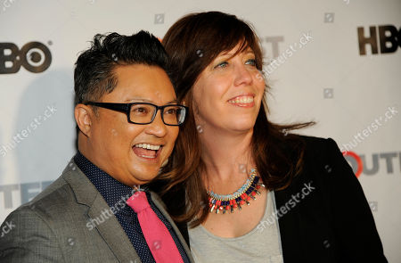Fusion Achievement Award winner Alec Mapa, left, poses with Outfest Executive Director Kirsten Schaffer at the Outfest 2014 Fusion LGBT People of Color Film Festival, in Los Angeles