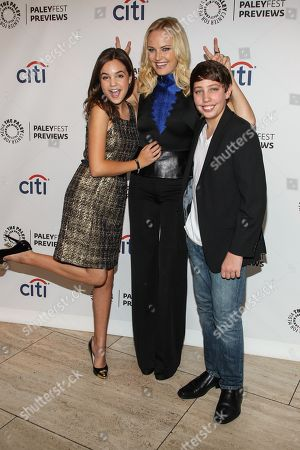 Stock Image of From left, actors Bailee Madison, Malin Akerman and Ryan Scott Lee arrive at the PaleyFest Previews: Fall TV show 'Trophy Wife' at The Paley Center for Media on in Beverly Hills, Calif
