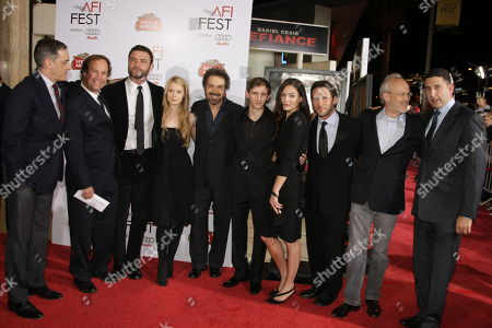 NOVEMBER 09: Paramount's John Lesher, Screenwriter Clay Forhman, Liev Schreiber, Mia Wasikowska, Producer/Director/Writer Ed Zwick, Jamie Bell, Alexa Davalos, Mark Feuerstein, Producer Pieter Jan Brugge and Paramount Vantage's Nick Meyer at Paramount Vantage Premiere of 'Defiance' at the 2008 AFI Fest Closing Night Gala on at the Cinerama Dome in Hollywood, CA