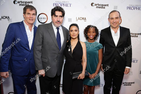 "Producer Clark Peterson, Alfred Molina, Producer Salma Hayek, Quvenzhane Wallis and executive producer Jose Tamez seen at Participant Media Special Los Angeles Screening of ""Kahlil Gibran's The Prophet"" held at LACMA's Bing Theater, in Los Angeles"