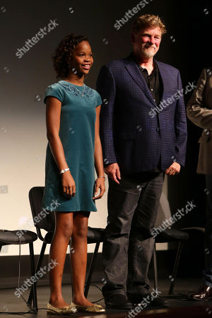 """Quvenzhane Wallis and Director/Writer Roger Allers seen at Participant Media Special Los Angeles Screening of """"Kahlil Gibran's The Prophet"""" held at LACMA's Bing Theater, in Los Angeles"""