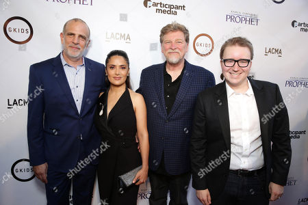 """Stock Photo of Eric Beckman, Founder of GKids, Producer Salma Hayek, Director/Writer Roger Allers and Dave Jesteadt, SVP of Distribution at GKids seen at Participant Media Special Los Angeles Screening of """"Kahlil Gibran's The Prophet"""" held at LACMA's Bing Theater, in Los Angeles"""