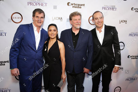"Producer Clark Peterson, Producer Salma Hayek, Director/Writer Roger Allers and Executive producer Jose Tamez seen at Participant Media Special Los Angeles Screening of ""Kahlil Gibran's The Prophet"" held at LACMA's Bing Theater, in Los Angeles"