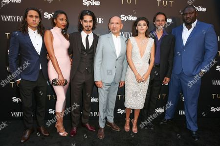 "Peter Gadiot, from left, Kylie Bunbury, Avan Jogia, Sir Ben Kingsley, Sibylla Deen, Alexander Siddig and Nonso Anozie arrive at the Party for the Film ""Tut"" at Chateau Marmont, in West Hollywood, Calif"