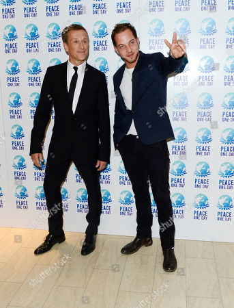 Jeremy Gilley, James Morrison poses at Peace One Day Concert at Wembley Arena on in London