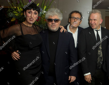 Rossy de Palma, left Director Pedro Almodovar, Alberto Iglesias, and Jean Paul Gaultier arrive for a tribute evening for Almodovar on behalf of the Academy of Motion Picture Arts and Sciences (AMPAS), at the Curzon Soho cinema in central London, celebrating the work of the Oscar-winning filmmaker