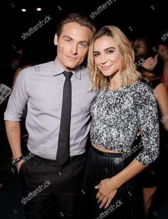 """Kevin Zegers, left, and Samaire Armstrong arrive at the PEOPLE """"Ones to Watch"""" Party at The Line Hotel, in Los Angeles"""