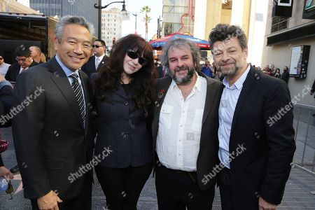 Chairman and Chief Executive Officer, Warner Bros. - Kevin Tsujihara, Fran Walsh, Peter Jackson and Andy Serkis seen at a ceremony honoring Peter Jackson with a star on The Hollywood Walk Of Fame, in Los Angeles, CA
