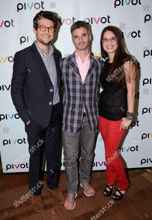 TakePart Live host Jacob Soboroff, left, Pivot President Evan Shapiro, center, and TakePart Live host Cara Santa Maria at Pivot's debut panel during the summer TCA at the Beverly Hilton Hotel on in Beverly Hills, Calif. Pivot presents it's network and series launch starting August 1, 2013