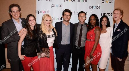 From left to right, Participant Media CEO Jim Berk, TakePart Live host Cara Santa Maria, Raising McCain host Meghan McCain, TakePart Live host Jacob Soboroff, HitRECord on TV! host and director Joseph Gordon-Levitt, Jersey Strong stars Jayda Jacques, Brooke Barnett, and Please Like Me star and creator Josh Thomas at Pivot's debut panel during the summer TCA at the Beverly Hilton Hotel on in Beverly Hills, Calif. Pivot presents it's network and series launch starting August 1, 2013