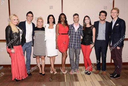 Stock Photo of From left to right Raising McCain host Meghan McCain, Jersey Strong stars Kevin Voelkel, Mag Voelkel, Brooke Barnett, Jayda Jacques, Pivot President Evan Shapiro,TakePart Live host Cara Santa Maria, TakePart Live host Jacob Soboroff, and Please Like Me star and creator Josh Thomas at Pivot's debut panel during the summer TCA at the Beverly Hilton Hotel on in Beverly Hills, Calif. Pivot presents it's network and series launch starting August 1, 2013