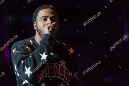 Sage the Gemini performs on stage during Power 106's Cali Christmas at Honda Center on in Anaheim, CA