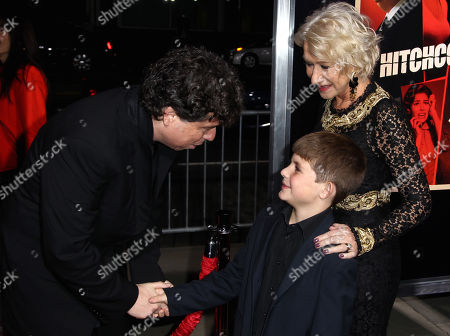 "Director Sacha Gervasi, left, greets actress Helen Mirren, right, and her nephew Felix Mirren at the LA premiere of ""Hitchcock"" at the Samuel Goldwyn Theatre, in Beverly Hills, Calif"