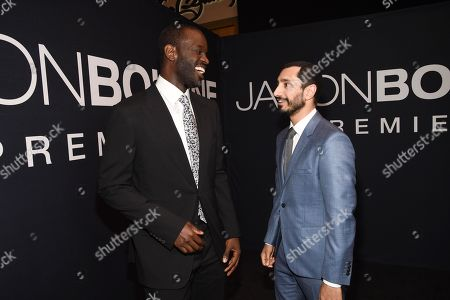 """Ato Essandoh and Riz Ahmed arrive at the """"Jason Bourne"""" Las Vegas film premiere at The Coliseum at Caesars Palace on in Las Vegas"""
