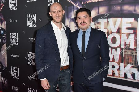 "Stock Photo of Caleb Heller, left, and Bao Nguyen arrive at the Los Angeles Premiere Of ""Live from New York!"" - Arrivals at Landmark Theatres, Westside Pavilion, in Los Angeles"