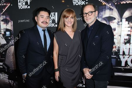 "Stock Picture of Director Bao Nguyen, from left, producers JL Pomeroy and Tom Broecker arrives at theLos Angeles Premiere Of ""Live from New York!"" held at The Landmark Theatre, in Los Angeles"