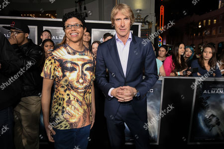 """Tay Zonday, left, and Michael Bay attend The Los Angeles Premiere of """"Project Almanac"""" at the TCL Chinese Theatre, in Los Angeles"""