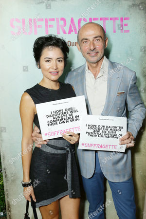 Lorena Mendoza and Shaun Toub seen at Los Angeles Premiere of Focus Features' 'Suffragette' at the Academy of Motion Pictures Arts and Sciences, in Los Angeles, CA