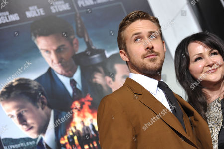 """Ryan Gosling and Donna Gosling attend the LA premiere of """"Gangster Squad"""" at Grauman's Chinese Theater, in Los Angeles"""
