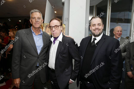 Steve Beeks, Co-Chief Operating Officer and President, Lionsgate, Director/Screenwriter Peter Bogdanovich and Jean McDowell, SVP of Marketing and Research, Lionsgate, seen at Los Angeles Premiere of Lionsgate Premiere â?˜Sheâ?™s Funny That Wayâ?™ at Harmony Gold Theatre, in Los Angeles, CA