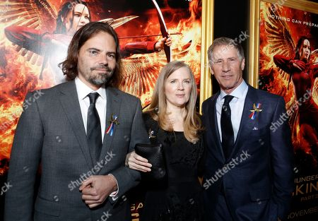 Screenwriter Peter Craig, author Suzanne Collins and Jon Feltheimer, Chief Executive Officer of Lionsgate, seen at Los Angeles Premiere of Lionsgate's 'The Hunger Games: Mockingjay - Part 2', in Los Angeles, CA