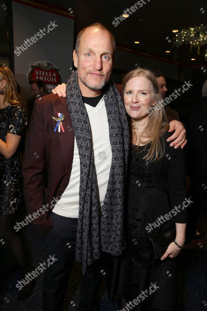 Stock Photo of Exclusive - Woody Harrelson and author Suzanne Collins seen at Los Angeles Premiere of Lionsgate's 'The Hunger Games: Mockingjay - Part 2', in Los Angeles, CA