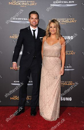 Stock Picture of Wes Chatham and Jenn Brown seen at Los Angeles Premiere of Lionsgate's 'The Hunger Games: Mockingjay - Part 2', in Los Angeles, CA