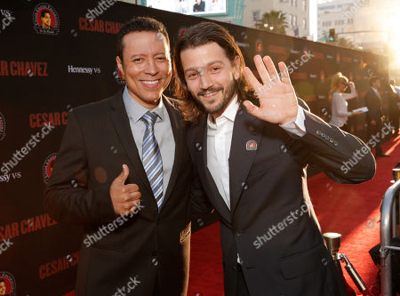 """Yancey Arias (L) and director Diego Luna attend the Los Angeles premiere of Pantelion Films and Participant Media's """"Cesar Chavez"""" at the at the Chinese Theatre, in Los Angeles"""