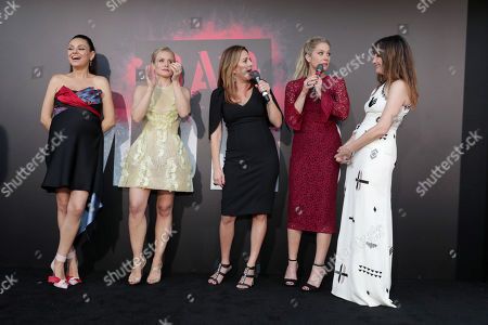 "Mila Kunis, Kristen Bell, Annie Mumolo, Christina Applegate and Kathryn Hahn seen at Los Angeles Premiere of STX Entertainment ""Bad Moms"" at Mann Village Theatre, in Los Angeles"